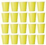 50bicchieri giallo, usa e getta, per bevande fredde o calde, in cartone ecologico, ideali per matrimonio, compleanno, come tazza per il caffè, ad un picnic, in giardino, per party, grigliate