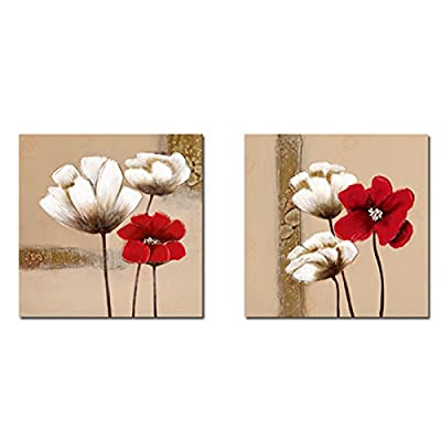Wieco Art - Red and White Flowers Modern Framed Giclee Canvas Prints Artwork 2 Panels Abstract Floral Oil Paintings Style Pictures Photo Printed on Canvas Wall Art for Bedroom Home Decorations - inexpensive UK light store.