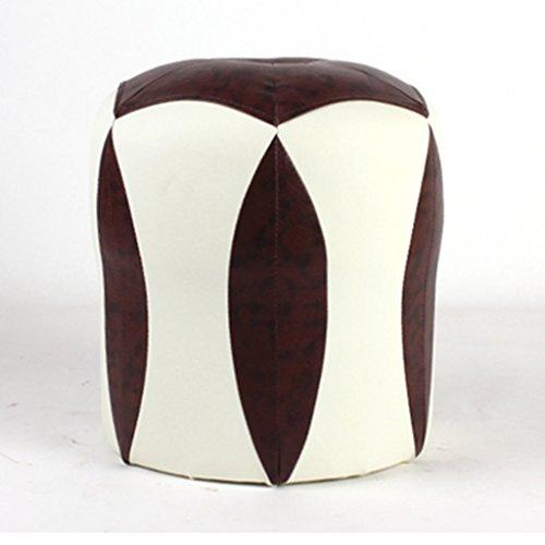 Salon en cuir canapé tabouret chambre lit fin tabouret reste rond tabouret 34 * 35 cm (Color : Brown)