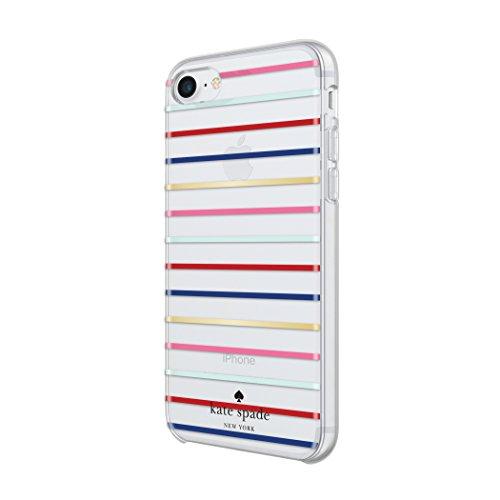 KATE SPADE New York Hardshell Case Étui pour Apple iPhone 7Plus–Or/Multi [Transparent Design brillant   dorée Logo des matériaux de haute qualité] Gold/Multi