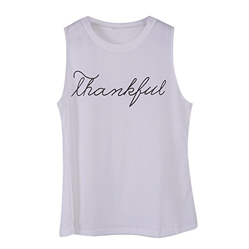 Juleya Summer T-Shirt Nouvelle Mode Lettre Imprimer Thankful Jersey Femmes Débardeurs sans Manches Plus La Taille Lâche Tricots Blanc