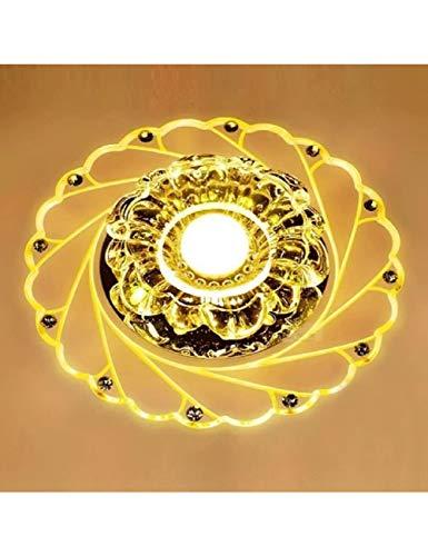 ZLJOO Led Kristall Deckenleuchte Circular Mini Deckenleuchte Rotunda Light Für Wohnzimmer Gang Flur Küche,Warm White -