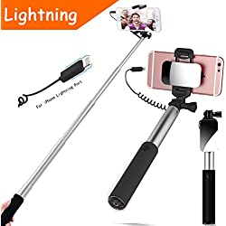 Bastone Selfie Stick [ iPhone Lightning | Wire Control (No Bluetooth) ] ,YooGoal Compact Handheld Monopod with Mirror for HD Rear Camera Shooting for iPhone 8 8 Plus 7 7 Plus 6 6S Plus (Silber)