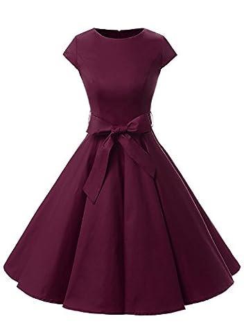 Dressystar Vintage 1950s Polka Dot and Solid Color Prom Dresses Cap-sleeve Burgundy S