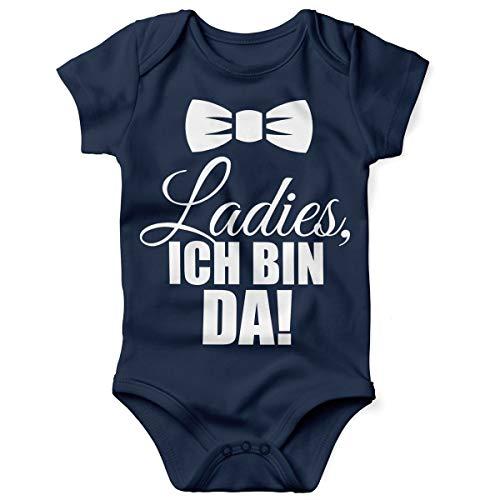 Mikalino Babybody mit Spruch für Jungen Mädchen Unisex Kurzarm Ladies, ich Bin da!   handbedruckt in Deutschland   Handmade with Love, Farbe:Navy, Grösse:62