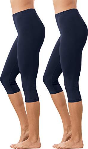 Erwin Müller Damen Capri-Leggings, Yogahose, Fitnesshose 2er-Pack Single-Jersey, Marine/Marine Größe 48/50 - elastische Qualität, abgesteppter Gummibund (weitere Farben) - Capri Jersey