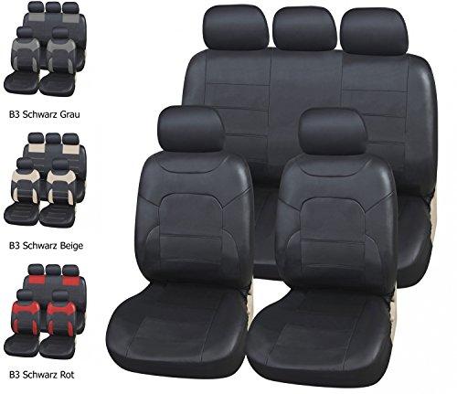 Upgrade4cars coprisedili ecopelle per auto universali nero | foderine sedili simil-pelle per anteriori e posteriori | copri-sedile universale | accessori automobile interni | set completo di 9