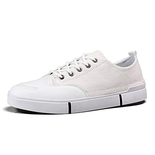 BBTK Art- Und Weisesportschuhe Sneaker-Männer Schnüren Sich Oben Segeltuch-Material (Color : Weiß, Größe : 40 EU) -