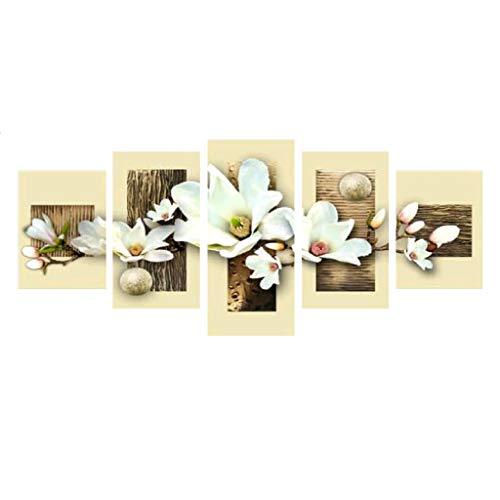 Xurgm 5D Full Bohrer Diamant Gemälde 5-Pictures Kombination Kits handgefertigt DIY Stickerei Naht Geschenk Arts Crafts für Haus Wand Büro Wohnzimmer Schlafzimmer Decor Blumen -