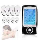 Electroestimulador Digital Masaje EMS TENS,Masajeador Digital,Recargable con 16 Modos y 8 Almohadillas ideal para Tensión y Manejo del dolor ciático y alivio del muscular