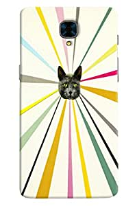Omnam Cat Face Effect Printed Back Cover Case For OnePlus Three