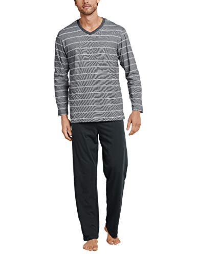 Schiesser Herren lang Zweiteiliger Schlafanzug, Grau (Anthrazit 203), Large (Herstellergröße: 052)