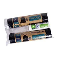 Hotpack Tie Bag Roll Twin Pack X- Large 60 Gallon x 10 pcs,  90 X 110 CM + 1 Roll Dust Bin Bag