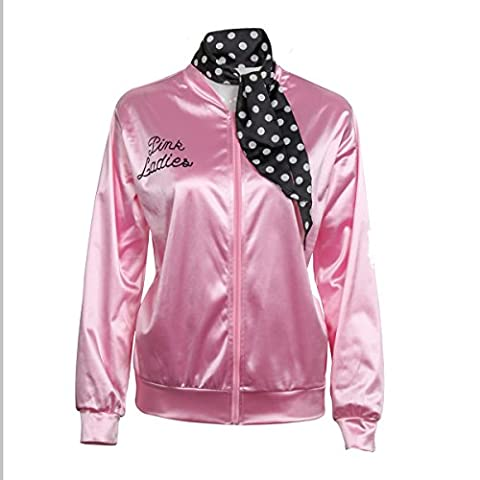 Ladies 1950s Pink Satin Grease Jacket With Neck Scarf T Bird Women Danny Halloween Costume Fancy Dress