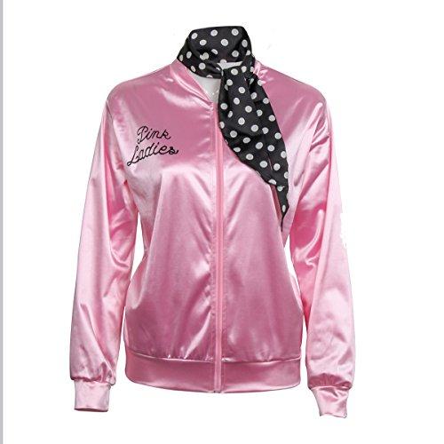 Nofonda Halloween Kostüm, Ladies Pink schicke Jacke 50er 60er 70er Jahre Damen Kostüm, Pink Jacke aus Satin mit Polka Dots Schal, Party Rock n (Mode Jahre 70er Schwarze)