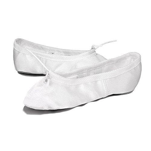 Ballettschuhe Mädchen Tanzschuhe ballettschläppchen Damen Bequem Spitzenschuhe Kinder Weiß 35 - 3