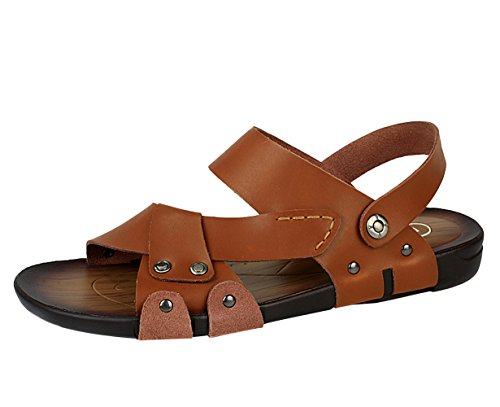 Icegrey Hommes Sandales Cuir Chaussons Antiderapant Tongs de plage Marron