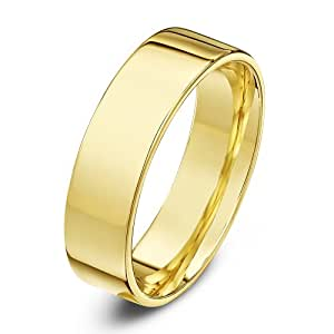 Theia 9ct Lightweight Flat Court Shape Wedding Ring - 5 mm, Yellow Gold, Size Y