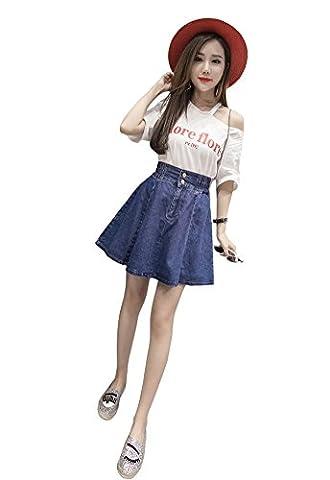 TOPJIN Juniors Short A Line Elastic High Waist Denim Skirt Jeans Dress Dark Blue M