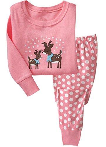 Mädchen Rentier Pyjamas Sets Kinder Kleidung Set Weihnachten Baumwolle Kleinkind Pjs Dot Nachtwäsche Rosa 4-5Y (Kleinkind Dot Mädchen)