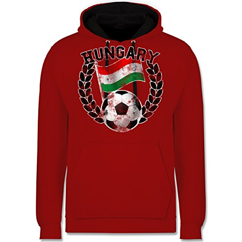Fußball - Hungary Flagge & Fußball Vintage - Kontrast Hoodie Rot/Schwarz
