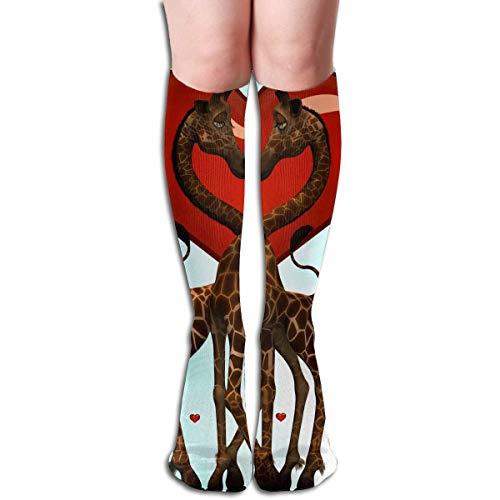 CVDFVFGB Compression Socks Giraffe Love Red High Boots Stockings Long Hose for Yoga Walking for Women Man (Lady Wikinger Kostüm)