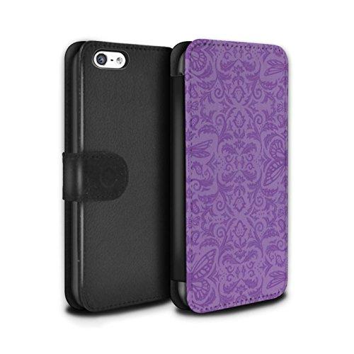 Stuff4 Coque/Etui/Housse Cuir PU Case/Cover pour Apple iPhone 5C / Noir / Blanc Design / Motif médaillon Collection Pourpre