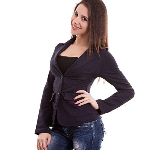 Giacca donna felpata cotone maniche lunghe avvitata bottoni nuova CC-1113[Bordeaux,S] Blu