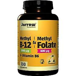 Methyl-B12 & Methyl Folate + Vitamin B6, 1000 µg Methylcobalamin, 400 µg Folsäure, 1,5 mg Vitamin B6, veganes Vitamin B-Trio, 100 Lutschtabletten mit Zitronengeschmack, hochdosiert, Jarrow Deutschland