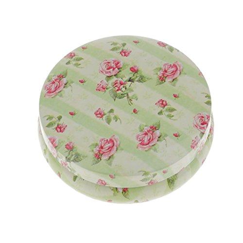 Homyl Aufbewahrungsbox aufbewahrungsdose mit Deckel, Geschenkdose Metalldose - Grün mit Blumen