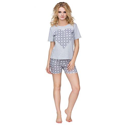 Alkato Damen Pyjama Shorty 2-tlg Kurzarm Shirt & Shorts Herz Karomuster Grau