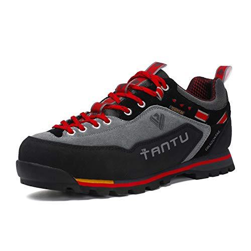 Scarpe da Trekking Uomo Respirabile Sportive Escursionismo Scarpe da Montagna Sneakers Passeggiata Rosso 43 EU