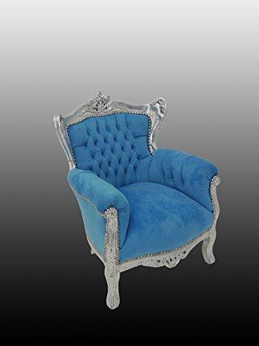 Antike Fundgrube Sessel Kinder Sessel Sitzmöbel Kinderstuhl Barock Stil in Silber/Türkis (4308)