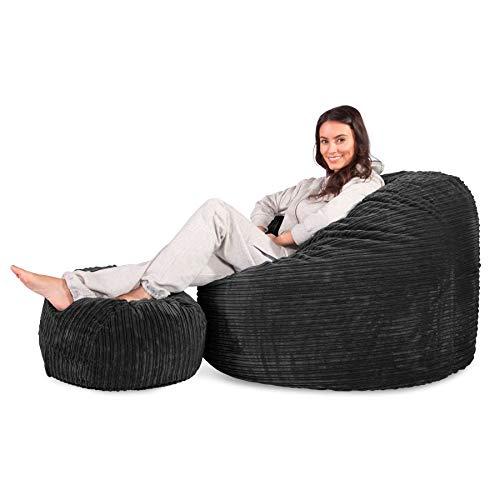 Lounge Pug, Riesen Sitzsack C500-L, CloudSac Latexflocken-Mischung, Relaxsessel, Cord Schwarz
