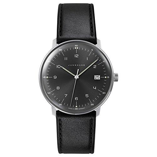 Junghans max bill 'uomo' al quarzo, in acciaio INOX e pelle orologio da donna, colore: Nero (Model: 041/4462.00)