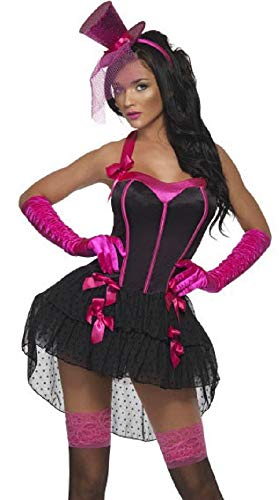 Fancy Me Deluxe Damen Sexy Burlesk Can Can Mädchen Flamingo Halloween Kostüm Kleid Outfit UK 4-14 - Schwarz/Rosa, 12-14 (Sexy Flamingo Für Erwachsene Kostüm)
