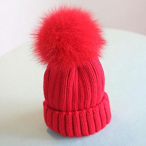 XJoel Donne Lady Beanie del Crochet del cappello di modo di inverno caldo LANA Beanie Red