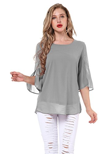 Yidarton Damen Chiffon Bluse Shirt Scoop Neck 3/4 Ärmel Blusen Tops (Medium, Grau)