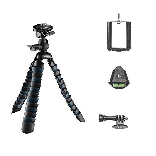 Mantona Armadillo DSLR flexibles Mini Kamera und Tisch Stativ für Kamera Smartphone Actioncam, Traglast 3 kg, Höhe 28 cm, mit Kugelkopf, inkl. Smartphone Halter und GoPro Adapter, schwarz/grau Camera Flexibles Stativ