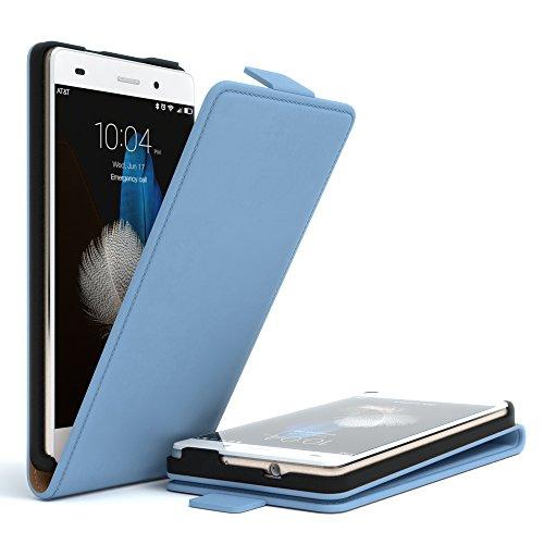 Huawei P8 Lite (2015) Hülle - EAZY CASE Premium Flip Case Handyhülle - Schutzhülle in Braun Hellblau (Flip)