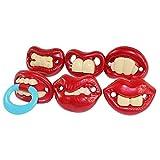 HaoCH 6 piezas bebé divertido chupete ortodoncida pezones con labios y dientes rojos grandes y sedosos para bebés de 3 meses de edad y hasta - libre de BPA y seguro para los niños