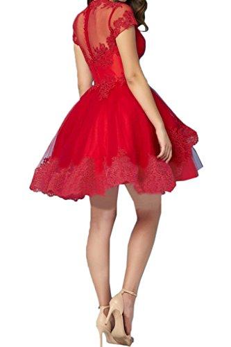 ivyd ressing da donna alla moda breve maniche scollo a V pizzo mini abito Prom Fest vestito cocktail vestito da sera Rot
