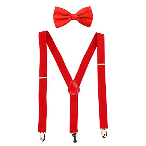 HABI mehrfarbig elastisch Hosenträger Y-Form Länge für Damen und Herren mit den starken Clips Playshoes und Halsschleife Fliege in verschiedenen ()