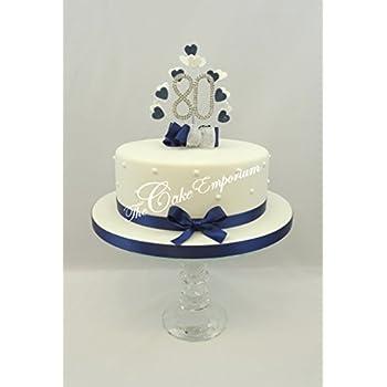 CAKE TOPPER HEART BURST SPRAY DIAMANTE 80th BIRTHDAY NAVY WHITE