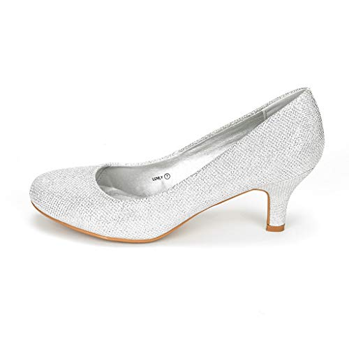 DREAM PAIRS LUVLY Damen Pump mit Niedriger Absatz Braut Hochzeit Party Schuhe Silber 37 EU (Hochzeit Schuhe Silber)