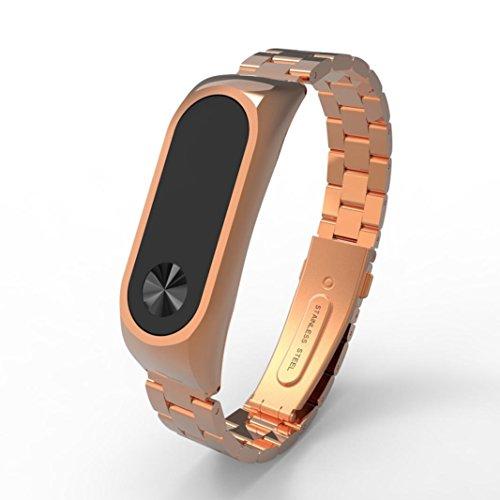 Correa de repuesto para XIAOMI miband2elegante, Y56, fino de lujo acero inoxidable impermeable inteligente Reloj de pulsera correa para Xiaomi Mi Band 2., oro rosa