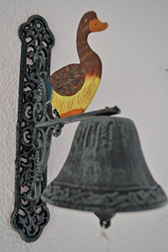 Türglocke- stabile Türglocke- Ente- für Haus und Garten- aus Gusseisen-sehr stabile Ausführung, antik grün-Landhausstil