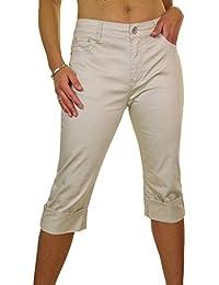 ICE (1512-1) Pantacourt en Jeans Extensible Brillant à Revers Grande Taille Beige