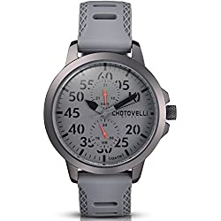 Chotovelli Aviator Men's Watch Multifunction Analogue display Military Silicone Strap 33.13