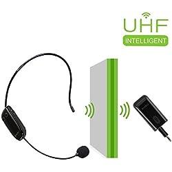 Casque de microphone sans fil UHF Casque mural super puissant avec émetteur sans fil portable 2 en 1 pour amplificateur de voix, PC, haut-parleur, compatible avec tous les périphériques